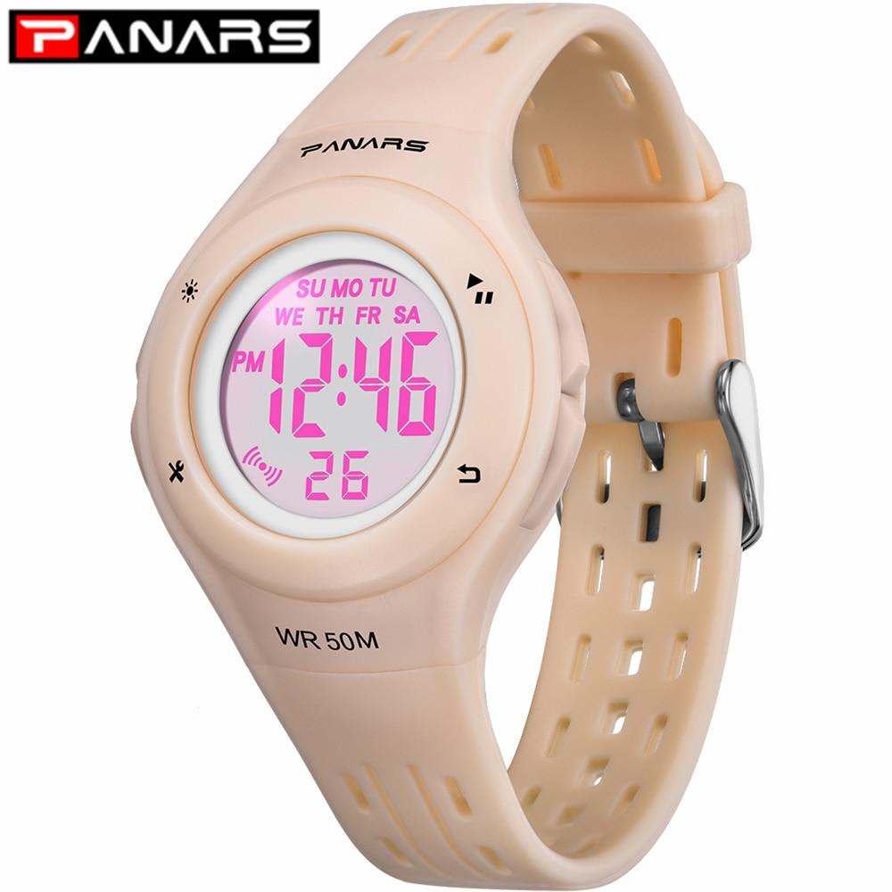 PANARS Fashion 7 LED Colors Children Watch WR50M Waterproof Kids Wristwatch Alarm Clock Multi-function Watches For Girls Boys