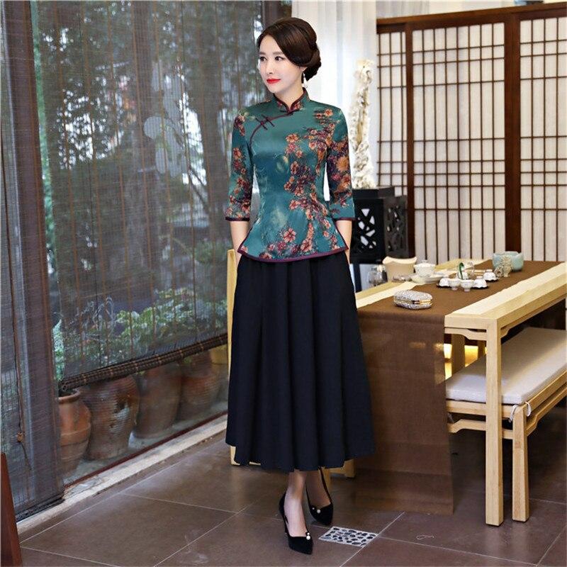 Chinois femmes Vintage imprimé fleur Slim chemise Satin Sexy à la main bouton Blouse 2019 nouveau élégant Tang closlim grande taille 4XL