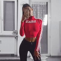 Women Turtleneck Sexy Red Crop Top Shirt Romeo Letter Printed Crop Top Long Sleeve 2017 Summer