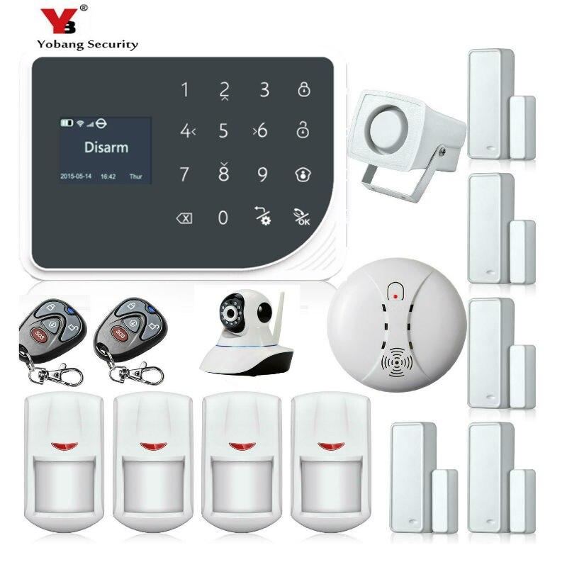 Yobang Sécurité WiFi Alarme GSM GPRS SMS Sans Fil de Sécurité À Domicile Système D'alarme Anti-Intrusion avec HD Wifi IP Caméra Détecteur de Fumée