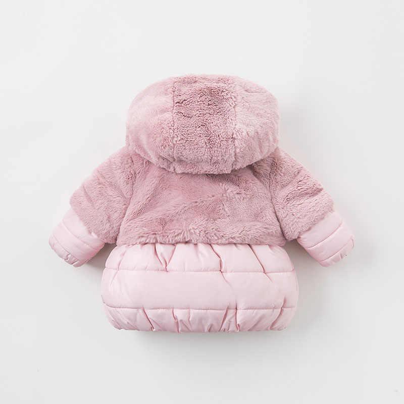 DBA7949 dave bella del bambino di inverno delle ragazze di colore rosa con cappuccio cappotto infantile capretti del cappotto imbottito tuta sportiva dei bambini del rivestimento imbottito di alta qualità