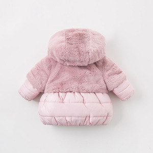 Image 3 - DBA7949 dave bella winter baby girls pink hooded coat infant padded jacket children high quality coat kids padded outerwear