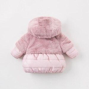 Image 3 - DBA7949 dave bella зимнее пальто с капюшоном для маленьких девочек, розовая детская стеганая куртка, Детское пальто высокого качества, Детская стеганая верхняя одежда