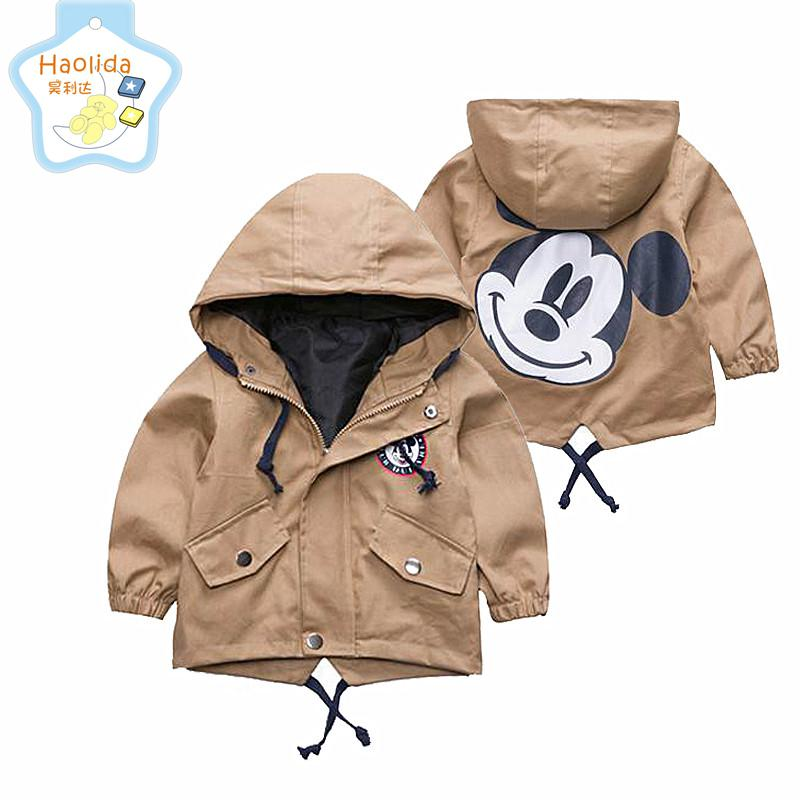 2017 Autumn Jacket Boys Girls Kids Outerwear Cute Mickey Windbreaker Coats Fashion Print Canvas Baby Children Clothing 12m-6t