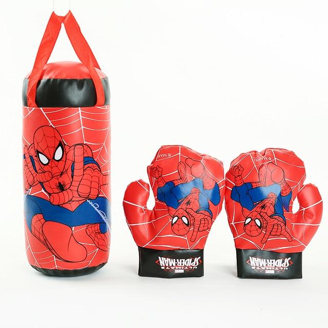Crianças Em Esportes Ao Ar Livre Brinquedos Marvel Superhero Spiderman Boxe Luvas Sacos de Areia Conjunto Brinquedo Para Presentes de Aniversário Meninos Ciranças Iniciante