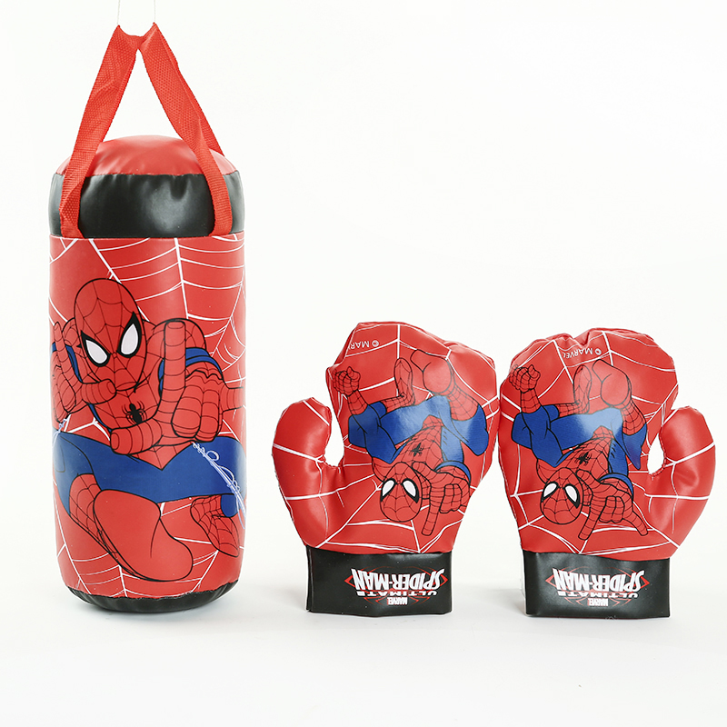 Kids In Outdoor Sports Boxing Toys Marvel Spiderman Superhero Toy Gloves Sandbag Set For Chidren Boys Beginner Birthday Gifts