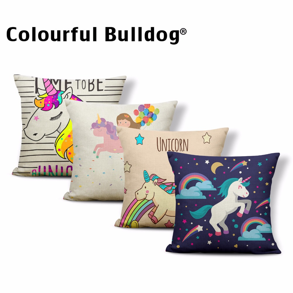 Cartoon Unicorn Rainbow Magic Image Cushion Cases Star Moon Clouds Pillow Covers 17*17In Decoration Children Room Home Couch Car
