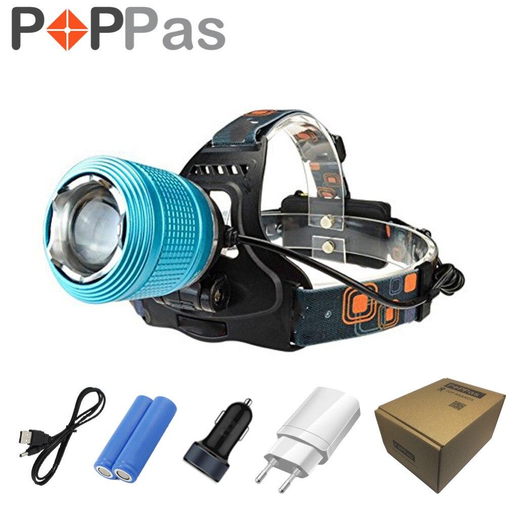 POPPAS LED Zoomable Phare Bleu Couleur lampe de Poche 18650 Pâte Chargeurs Ultra long zoom