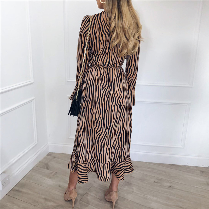 Summer Long Dresses 2019 Women Zebra Print Beach Chiffon Dress Casual Long Sleeve V Neck Ruffles Elegant Party Dress Vestidos 2