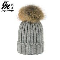 Joymay 2016 Girl Fashion Winter Real Raccoon Fur Hats 15cm Fur Pompom Beanies Cap Natural Fur
