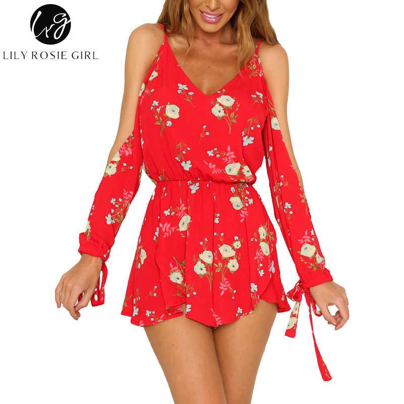 Лилия Рози девушка с открытыми плечами кружево с длинным рукавом красный сексуальный V шеи женские костюмы повседневные Комбинезоны Комбинезон Бохо пляжные комбинезоны