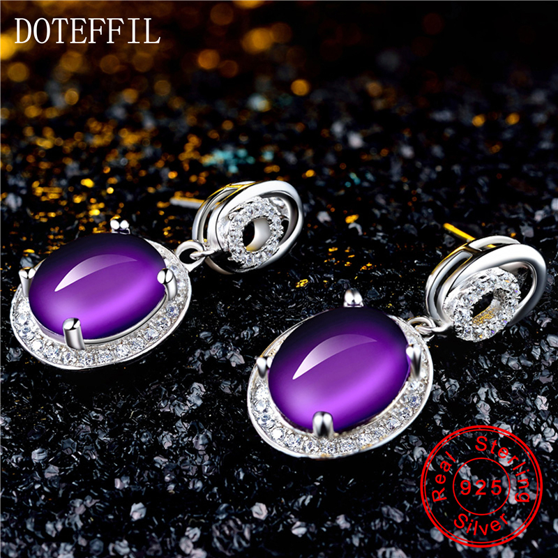 925 argent violet cristal boucles d'oreilles femme luxe charme 100% en argent Sterling boucles d'oreilles mode femmes bijoux - 3