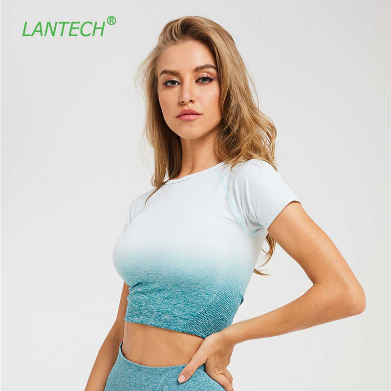 LANTECH Gym Shirts Seamless Crop Tops Yoga Fitness Women Compression Tights Sports Short Sleeve Running Workout Ombre Sportswear