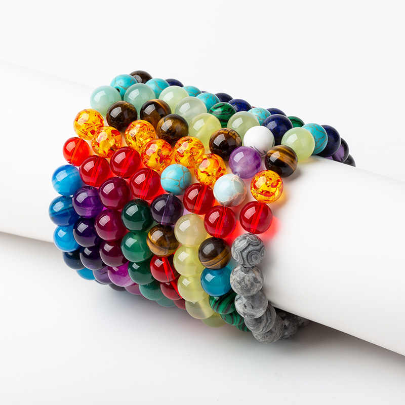 Meajoe 10mm Seven Chakra Yoga Bracelets 10 Models Available Round Chain Beads Bracelets Jewelry For Women Friend Gift