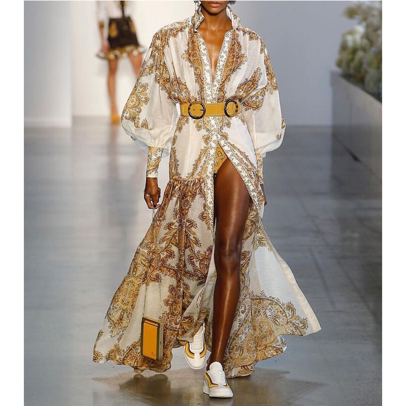 Robe de créateur de piste 2019 printemps femmes de luxe jaune imprimé simple boutonnage plissé longue robe Vintage Maxi robe avec ceinture
