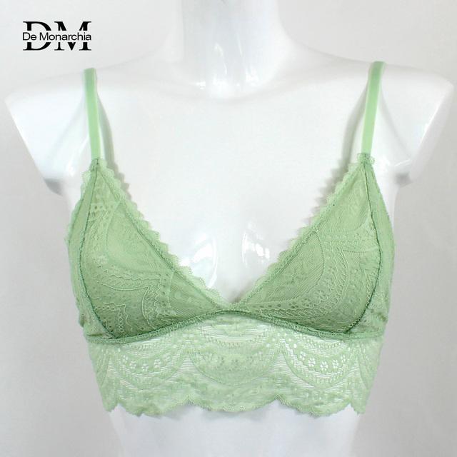 De Monarchia Women Sexy Lace Halter Bralette Unlined Underwear Bras Intimate Tops Ultrathin Bra Crop Top Floral 3/4 Cups