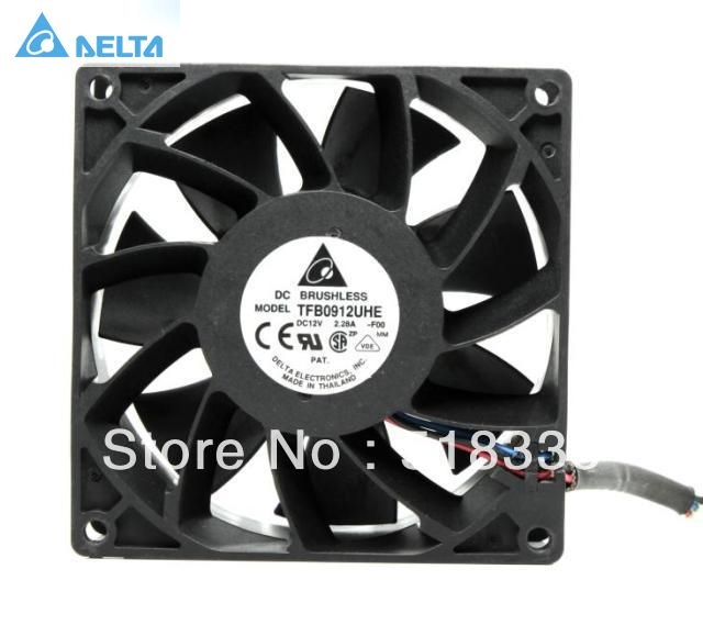 Original Delta TFB0912UHE 9CM 92*92*38mm 12V 2.28A  Cooling fan original delta afb0912shf 9032 9cm 12v 0 90a dual ball bearing cooling fan