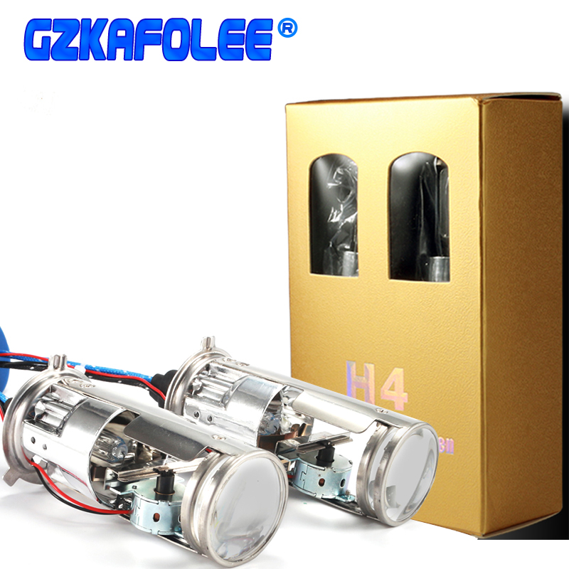 GZKAFOLEE 12V 55W H4 Xenon Lamp 4300K 6000K 8000K White Car Headlight Bulb Mini Projector Double Lens Shrouds
