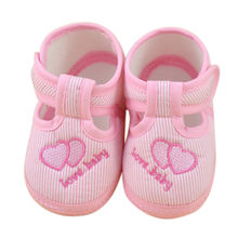 Cute Pink Shoes Newborn Girl Boy Soft Sole Crib Toddler Shoes Casual Style Buckle Strap Canvas Sneaker F804(China)