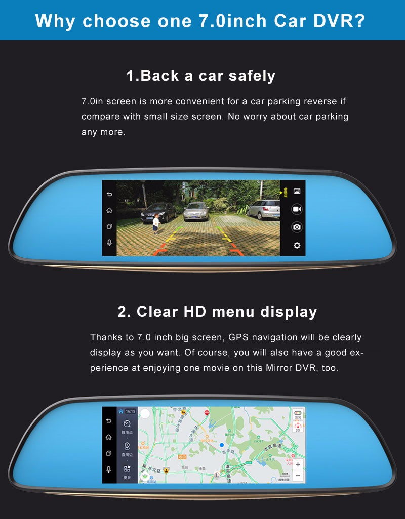 Free 32GB card+3G Car DVR+Android 5.0 Bluetooth GPS WIFI Dual lens rearview mirror camera+FHD1080P camara automovil Phisung H2 16