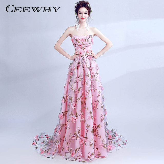 CEEWHY Vintage Floral Printed Evening Dresses Luxury Appliques Evening Dress  Robe de Soiree Longue Evening Gown b4fe0277ece6