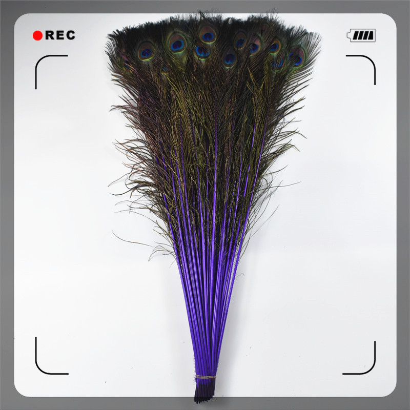Wholesale 200Pcs Lot Natural Lake Blue Real Peacock Feathers 70 80CM 28 32 quot Peacock Feather for Crafts Wedding Decoration Plumes in Feather from Home amp Garden