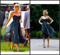 Imagem real 2016 Gossip Girl Serena Blake Lively costas abertas vestido querida Ruched Tee o chão de festa Formal vestido Abendkleider