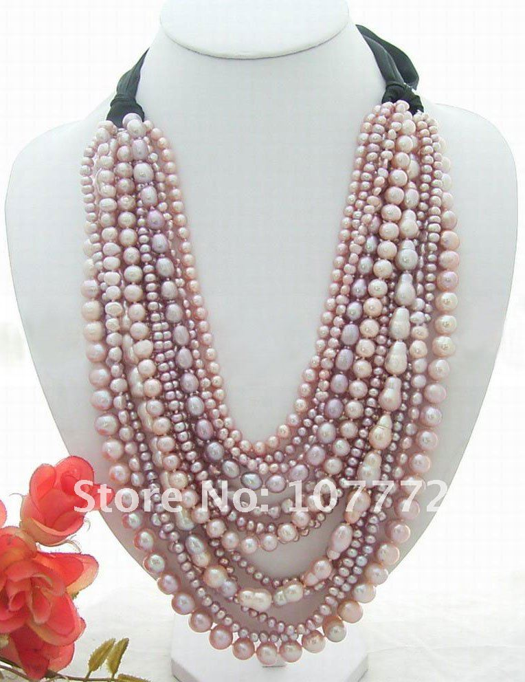 Stunning! 14 strands Purple Pearl NecklaceStunning! 14 strands Purple Pearl Necklace