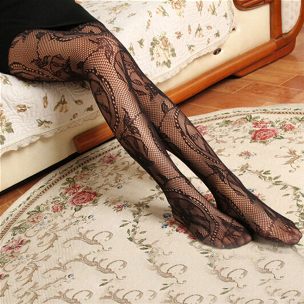 Women Black Stockings Floral Pattern Print Mesh Fishnet Pantyhose Women Sexy High Waist Stockings High Quality