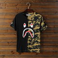 2017 spring and summer new fashion black street male tide printed shark stitching half camouflage round neck t-shirt