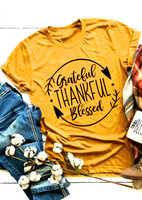 Reconnaissant reconnaissant béni T-Shirt Hipster drôle graphique Tee élégant Grunge Thanksgiving Vintage jaune vêtements hauts cadeau chemises