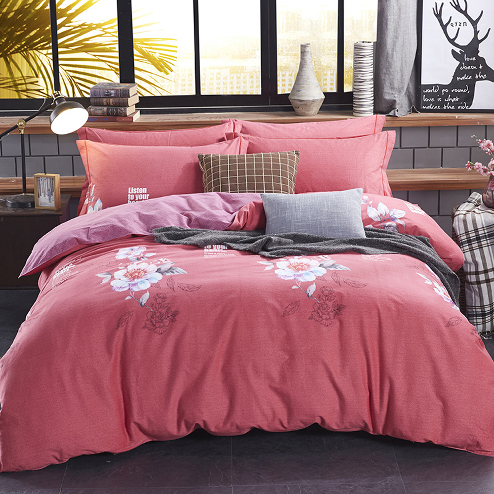 2018 Pastoral Flowers Red Bed Covers Sanding Cotton Duvet Cover Set Brushed Queen King Size Bedlinens Pillowcases Sheet