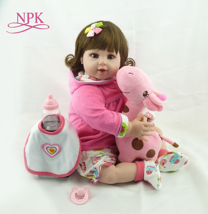 NPK 20 Baby Doll With Giraffe Doll soft Body Silicone Vinyl Adorable Lifelike Toddler Baby Bonecas