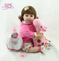 NPK 20 Baby Doll With Giraffe Doll soft Body Silicone Vinyl Adorable Lifelike Toddler Baby Bonecas Girl Kid Bebes Reborn Dolls