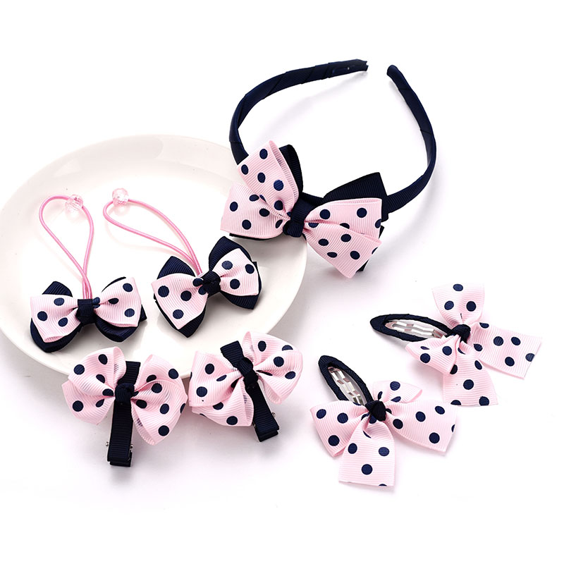 M MISM 7PCS/Set Girls Dots Top Knot Hair Clips High Quality Elastic Hair Bands Child Bowknot Scrunchy Accessories Sets Hairgrips