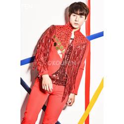 Модные мужские золото зеркало кристаллы куртка костюмы Красный кисточкой костюмы с блестками жилет ночной клуб бар DJ мужской этап