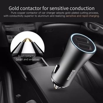 Baseus Dual USB Car Charger Para iPhone 11 Samsung Carregador de celular Isqueiro do carro Tablet GPS Adaptador de viagem Carregador de telefone 1