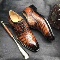 100% натуральная крокодиловая кожа живота блестящие 2 цвета кожаная мужская обувь Прочная прочная крокодиловая кожа мужская модельная обувь