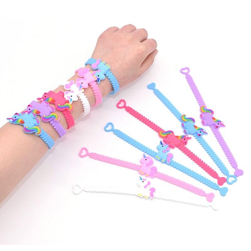 Birthday Xmas Party Kids Favors Wristband UNICORN RAINBOW SILICONE SLAP BRACELET