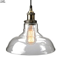 Vintage Clear Glass Pendant Light Copper Hanging Lamps Light Bulbs For Home Decor Restaurant Ceiling Light