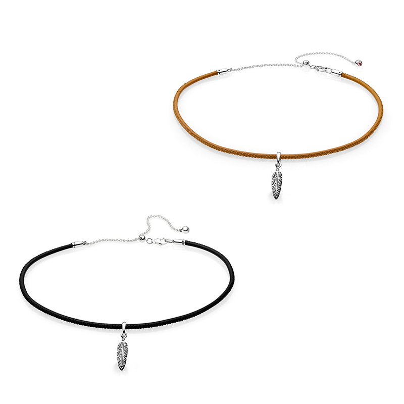 NEW 2018 NEW 925 Sterling Silver Black & Golden Tan Leather Choker Necklace with Feather Pendant For Women Jewelry Gift