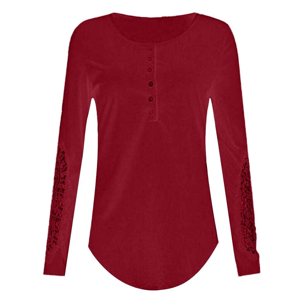 Blusa Suelta rojo 2018 Larga Y Casual Mujer Algodón Encaje Tops gris Moda Oscuro Azul De Blusas Camisa Manga wvCSHq