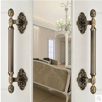430MM High Quality Vintage door handle antique brass glass wood big gate  pull bronze Hotel Ktv Home office door hardware handle - 430MM High Quality Vintage Door Handle Antique Brass Glass Wood Big