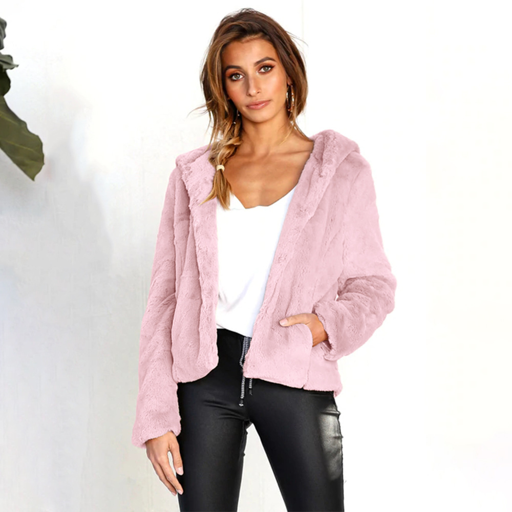 Solid Slim Faux Fur Coat Women Casual Long Sleeve Turn-down Collar With Cap Thick Fur Coat Women Warm Soft Fur Female Jacket