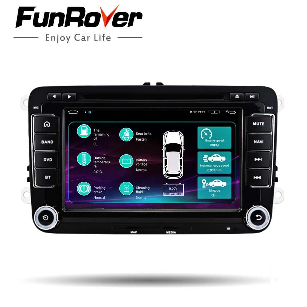 """FUNROVER 7 """"2 ディンアンドロイド 6.0 カー dvd ステレオプレーヤー GPS ナビゲーションインダッシュ Vw フォルクスワーゲンポロパサートゴルフティグアンシュコダラピッド"""