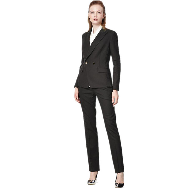 9f71b955206a0 Women Pant Suits Professional OL outfit custom business suit women formal  occasions double-breasted chic ladies two-piece suit