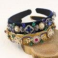 2016 Fashion Pearl Crystal Flower Vintage Palace Baroque Headband Crown Gold Leaves Velvet Hairband Wedding Headpiece Catwalk