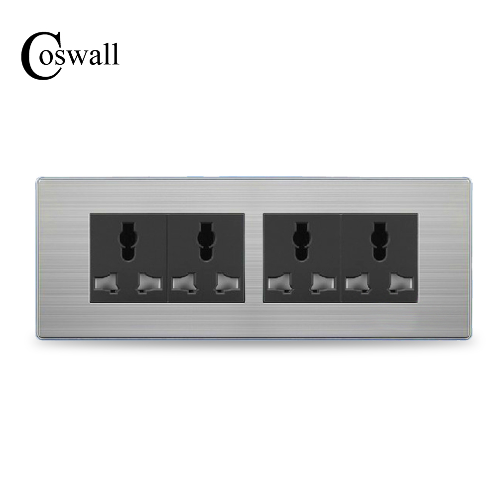 COSWALL Luxury 12 Hole Universal Power Socket 4 Way Wall Outlet Stainless Steel Panel 197*72mm
