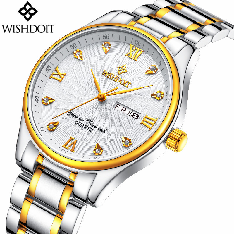 neos brand genuine watch men s stainless steel straps simple business fashion waterproof quartz fashion men s watch 2017 New Luxury Brand Men Fashion Business Quartz Watch Gold Stainless Steel Waterproof Male Watches relogio masculino WISHDOIT
