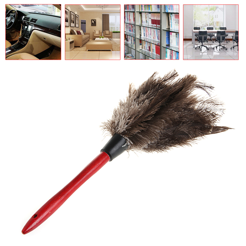 Useful Grey Anti-static Ostrich Feather Fur Duster Home Dust Cleaner Brush Wooden Handle Cleaning Tools for Car Library Room